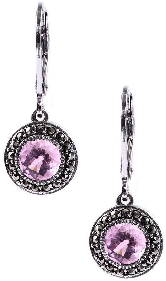 Judith Jack Sterling Silver Pink Glass (3 ct. t.w.) and Marcasite (1/3 ct. t.w.) Circle Drop Earrings