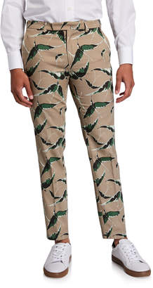 Valentino Men's Bird-Print Cotton Pants