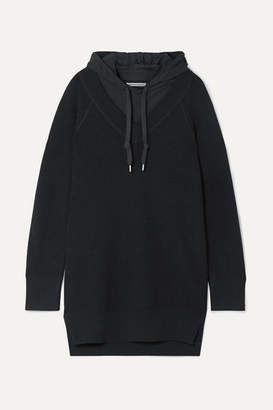Alexander Wang Hooded Layered Wool And Cotton-blend Jersey Mini Dress - Black