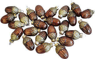 One Kings Lane Vintage Acorn Glitter Christmas Ornaments - Set of 23