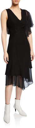 Yigal Azrouel Asymmetric A-line Ruffle-Sleeve Dress