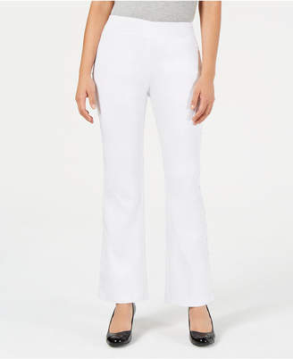 JM Collection Petite Stud-Trimmed Flare-Leg Pants