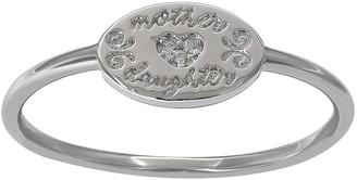 Primrose PRIMROSE Sterling Silver Cubic Zirconia Etched Mother Daughter Ring