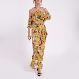 River Island Womens Petite yellow floral cold shoulder maxi dress