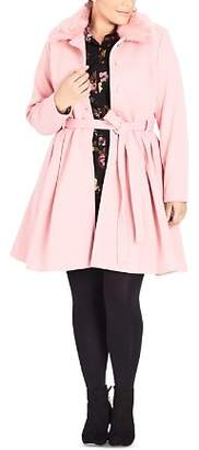 City Chic Plus Blushing Belle Belted Coat