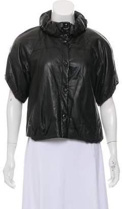 Alexander McQueen Short Sleeve Leather Jacket