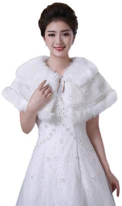 Oncefirst Women's Winter Fashion Warm bridal Wedding Faux Fur Wrap Shawl