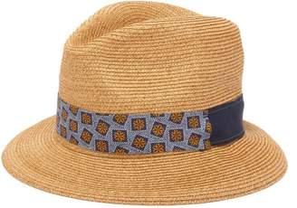 de16d7ac331c8 Albertus Swanepoel Donn Mosaic Straw Mosaic Print Panama Hat - Mens - Brown