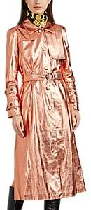 Women's Metallic Faux-Leather Trench Coat - Rose Gold