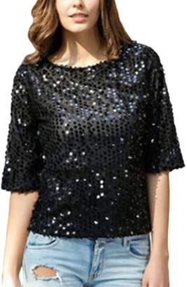 Zamtapary Women Casual Sequins Shiny Pullover Plus Size T-Shirt Tee Top XXL