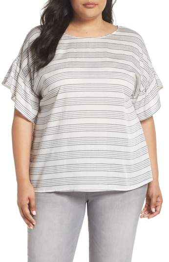 Ruffle Sleeve Bar Stripe Top