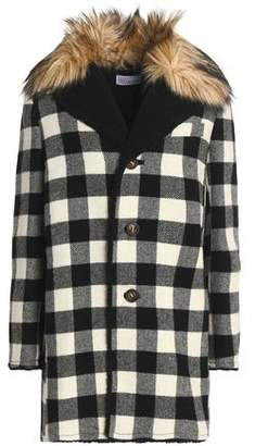 RED Valentino Faux Fur-Trimmed Checked Wool Coat