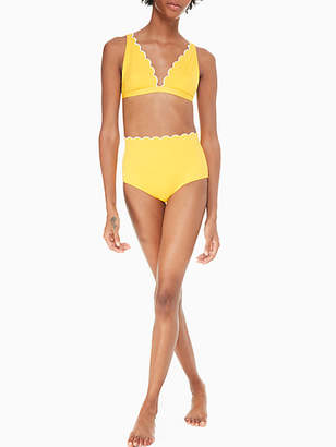 Kate Spade Fort tilden contrast scalloped high-waist bikini bottom