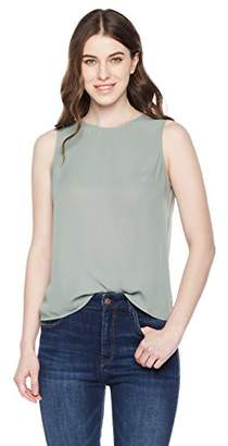 Essentialist Women's Silky Crepe Crossover Back Shell Blouse