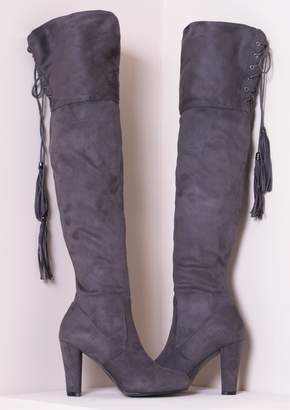 8e7436538c1f at Missy Empire · Missy Empire Missyempire Candie Grey Suede Thigh High  Heeled Boots