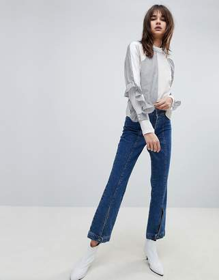 Gestuz Wide Leg Jeans With Button Hem