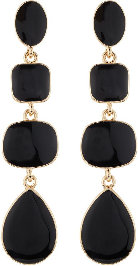 Kenneth Jay Lane Enamel Quadruple-Drop Earrings, Black
