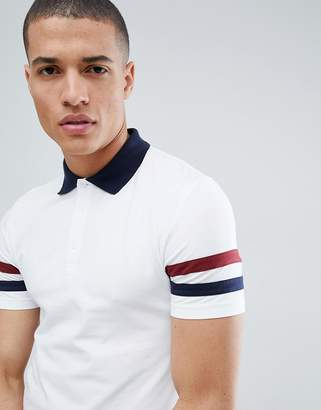 Asos DESIGN muscle fit polo with contrast sleeve panels