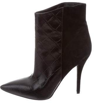Brian Atwood Pointed-Toe Embossed Ankle Boots