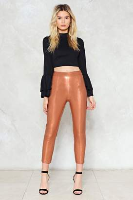 Nasty Gal PU Cropped High Waisted Pants