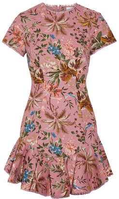 Zimmermann - Tropicale Open-back Printed Linen And Cotton-blend Mini Dress - Baby pink $695 thestylecure.com