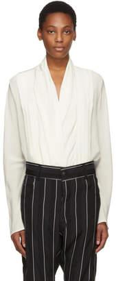Haider Ackermann Ivory Front Drape Shirt