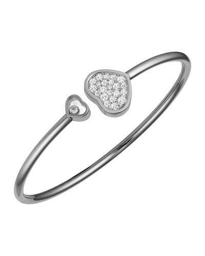 Chopard Chopard Happy Hearts 18k White Gold Pave Diamond Bangle Bracelet