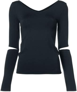 Helmut Lang v-neck cut out sleeve top
