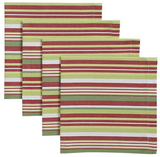 Set of 4 Holiday Stripe Napkins