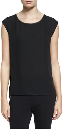 DKNY Leona Sleeveless Silk Blouse $198 thestylecure.com