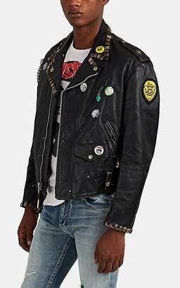 """Madeworn Men's """"Ramones"""" Embellished Leather Moto Jacket - Black"""