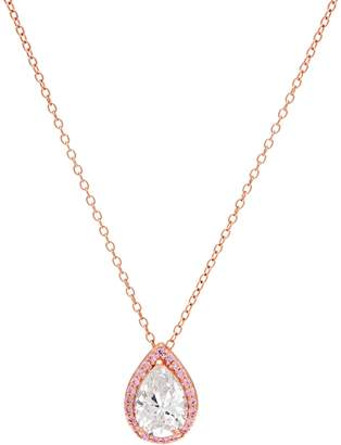 """Diamonique Pink Halo Pear Pendant with 18"""" Chain, 14K Rose Plated"""