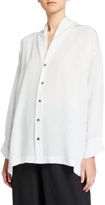 eskandar Silk Scrunched-Neck Slim A-Line T-Shirt