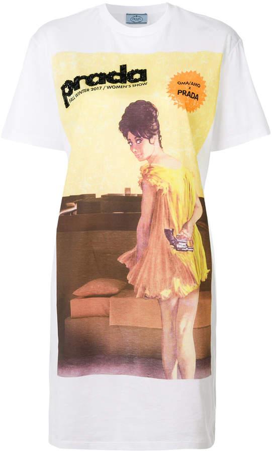 Prada pin up print beaded T-shirt