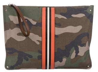 Valentino 2018 Leather-Trimmed Camouflage Canvas Zip Pouch w/ Tags
