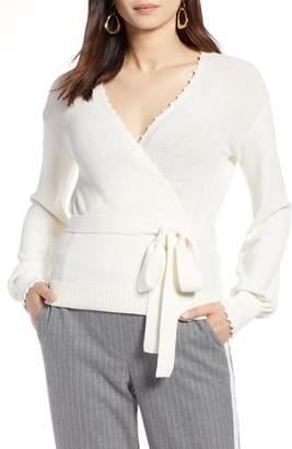 Halogen Crochet Edge Wrap Style Sweater (Regular & Petite)