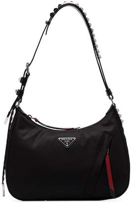 14555aeb1b2725 Prada black small studded leather-trim shoulder bag