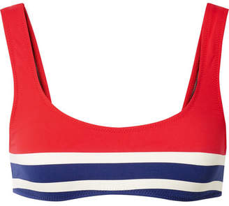 Solid & Striped The Elle Striped Stretch Bikini Top - Red