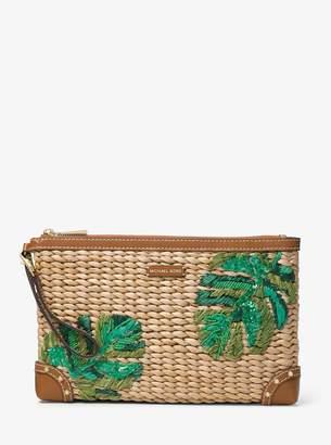 MICHAEL Michael Kors Malibu Extra-Large Palm Embroidered Straw Clutch