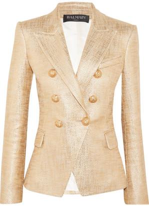 Balmain - Double-breasted Painted Metallic Basketweave Cotton Blazer - FR36 $1,855 thestylecure.com