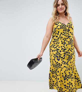 Asos Design Curve Leopard Print Pephem Midi Slip Dress
