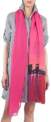 Akris Punto Sunset Print Modal & Cashmere Scarf