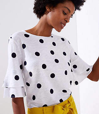 LOFT Dotted Vintage Soft Bell Cuff Tee