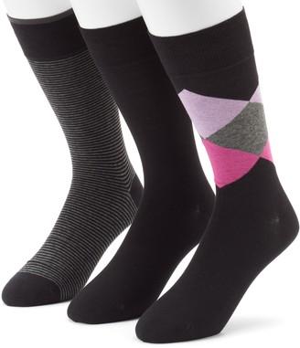 Marc Anthony Men's 3-pack Diamond, Solid & Striped Dress Socks