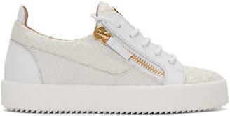 Giuseppe Zanotti White Python-Embossed London Sneakers $675 thestylecure.com