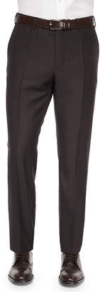Incotex Benson Sharkskin Wool Trousers, Dark Brown