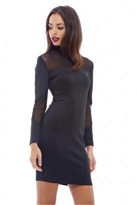 AX Paris Long Sleeved Mesh Insert Bodycon Dress