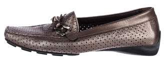 Stuart Weitzman Leather Square-Toe Loafers
