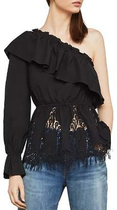 BCBGMAXAZRIA One-Shoulder Embroidered-Inset Top