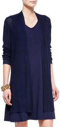 Eileen Fisher Ribbed Washable Organic Linen Cardigan, Midnight $218 thestylecure.com